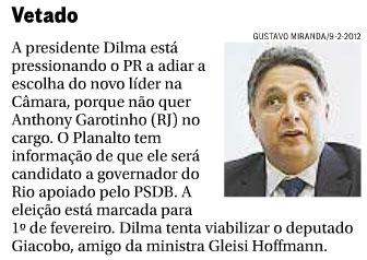 Reprodução da coluna Panorama Político, do Globo