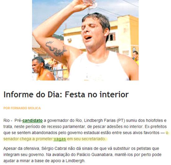 Lindberg Farias joga água na cabeça; ao lado nota da coluna Informe do Dia