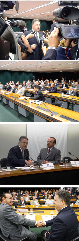 Garotinho eleito novo líder e com o deputado Lincoln Portela, o atual líder que passa o bastão (Fotos de André Couto; a de baixo de Francislene dos Santos)