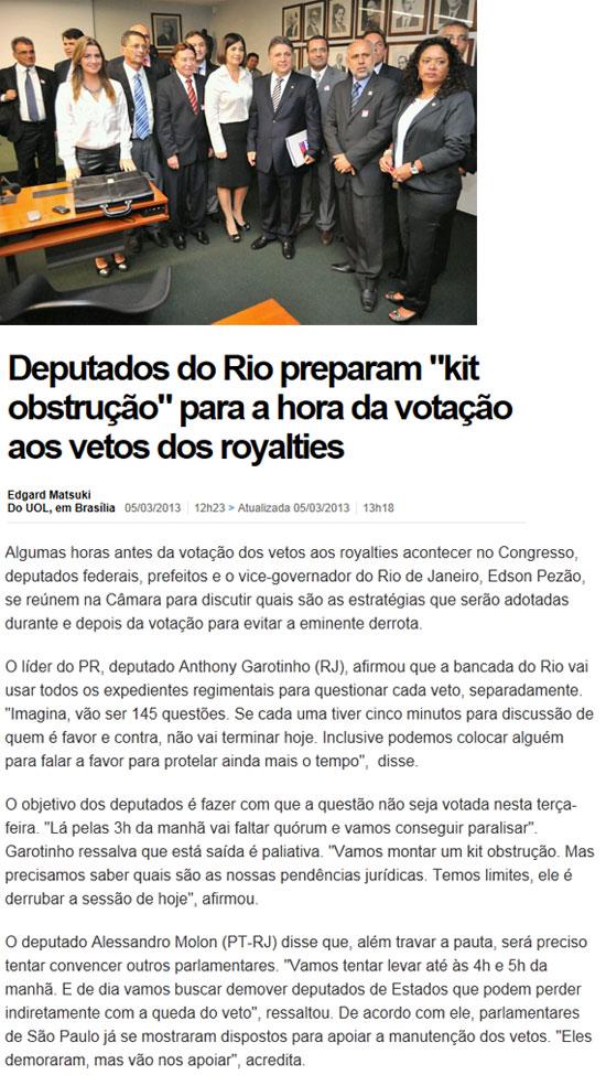 Garotinho, Rosinha e Clarissa com prefeitos de municípios produtores; abaixo reprodução do UOL