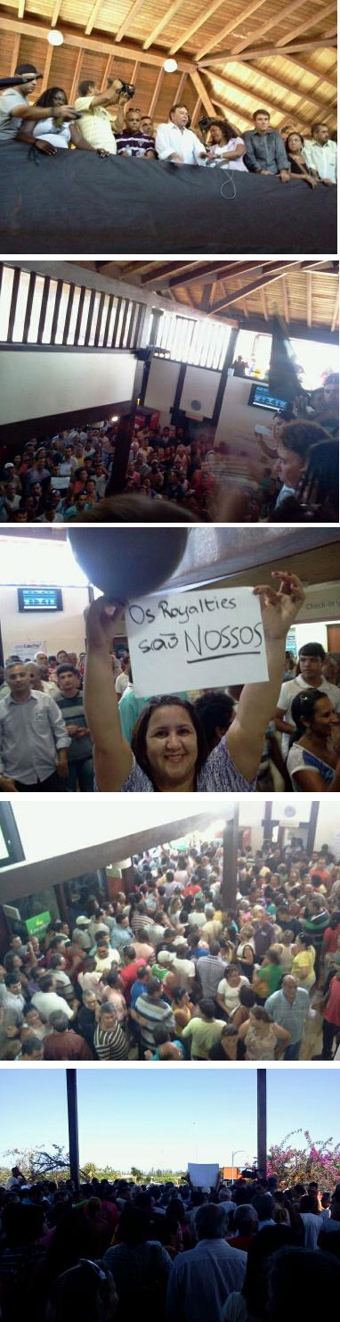 O prefeito Alair Corrêa - no centro de camisa branca - levou população para o aeroporto (Fotos do blog da repórter Renata Cristiane)