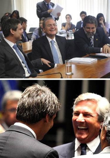 Lindbergh ri do que Renan disse, e faz rir o senador Fernando Collor (PTB - AL)