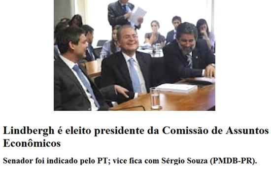 Lindbergh Farias, Renan Calheiros e o presidente do PMDB, senador Valdir Raupp (RO); abaixo manchete do dia 26/02