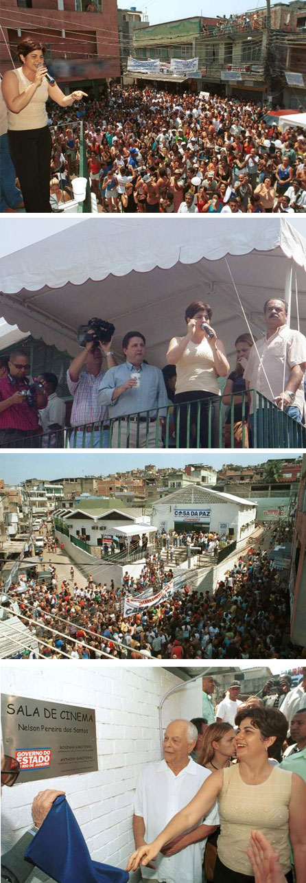 Rosinha e Garotinho inauguram a Casa da Paz, no Jacarezinho, em 2004; na ltima foto Rosinha ao lado do cineasta Nelson Pereira dos Santos