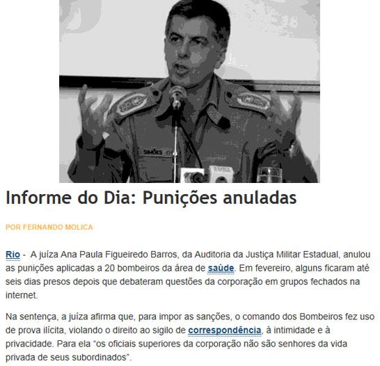 Coronel Sérgio Simões; abaixo nota do Informe do Dia
