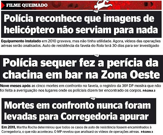Manchetes da capa do jornal Extra (tera, quarta e quinta)