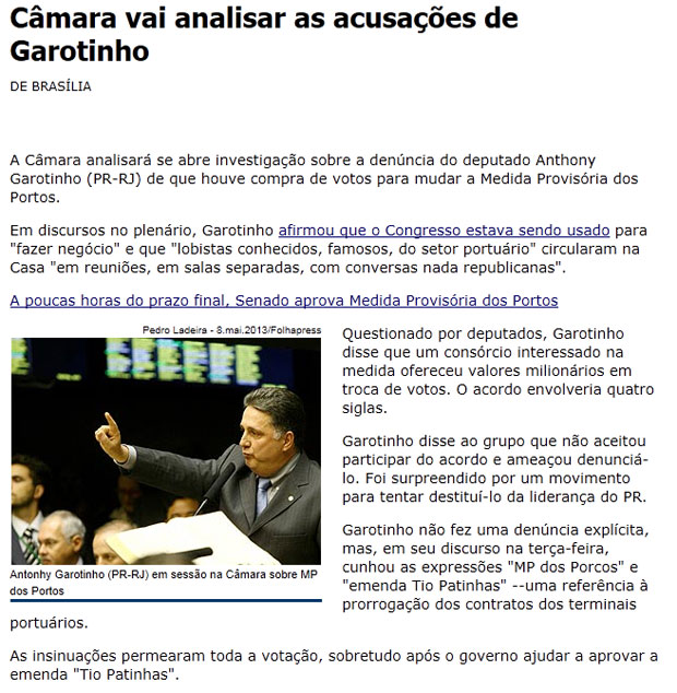 Reproduo da Folha de S. Paulo