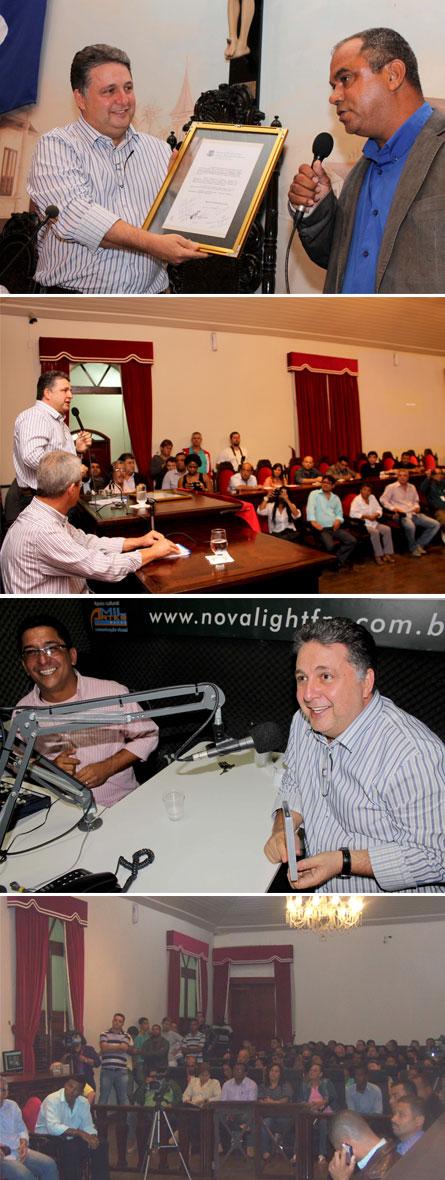 Garotinho com o vereador Manoel das Malvinas, e embaixo com o comunicador Clebinho, da rádio Nova Light FM (Fotos de Vagner Basílio); por último imagem da Câmara de Vereadores lotada (Foto de Marlon Fonseca)