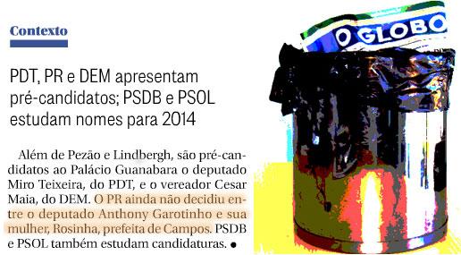 Reprodução do Globo; ao lado, o jornal na lata de lixo