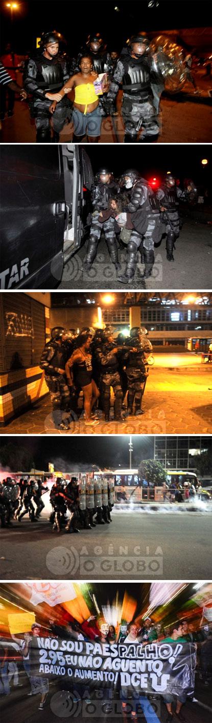 PM investe com violência contra manifestantes (Fotos da Agência Globo)