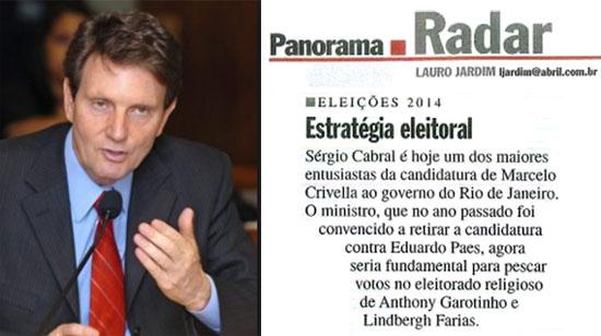 Marcelo Crivella; ao lado nota da revista Veja