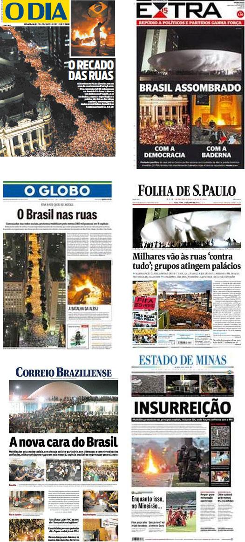 Primeira páginas de alguns dos principais jornais do país