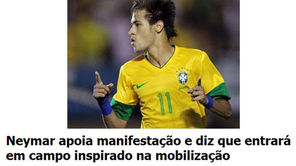 Neymar; abaixo manchete da Folha de S. Paulo online