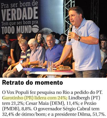Garotinho no Congresso Estadual do PR; abaixo reprodução da coluna Panorama Político, do Globo