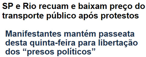 Manchetes da Veja online e do Globo online