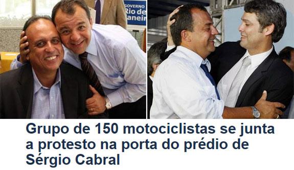 A República do Leblon confraterniza: Cabral, Pezão e Lindbergh; abaixo manchete do Globo online