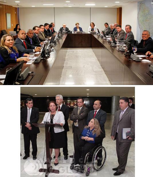 Garotinho na reunião de líderes com a presidente Dilma (Foto de Roberto Stuckert Filho - Presidência da República); e acompanhando a coletiva da ministra Ideli Salvatti (Foto de André Coelho - Agência Globo)