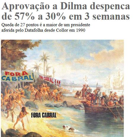 Manchete da Folha de S. Paulo; abaixo imagem do Facebook