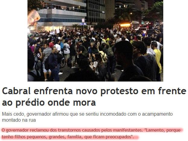 Foto da manifestação de hoje, no Leblon; abaixo manchete do JB Digital