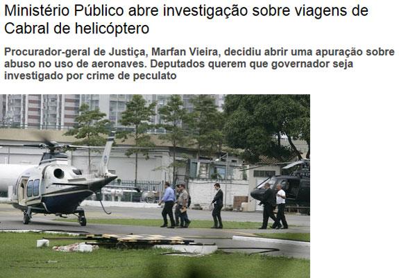 Reprodução da Veja online (na foto Cabral e o filho Marco Antônio embarcam no helicóptero comprado por R$ 15 milhões)