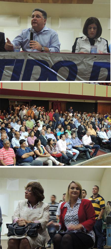 Garotinho fala ao lado de Rosinha; o auditório lotado; a prefeita de Areal, Waldeth Brasiel e a deputada federal Liliam Sá (à direita), que voltou para o PR