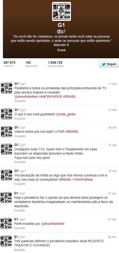 Reprodução do twitter do portal de notícias G1