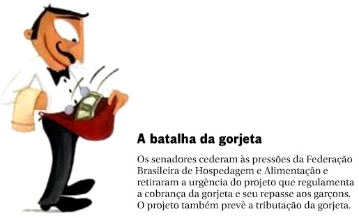 O garçom e a gorjeta; ao lado nota do Panorama Político, do Globo