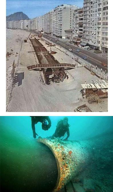 A obra de construção do emissário nos anos 70; abaixo mergulhadores trabalham na recuperação do emissário