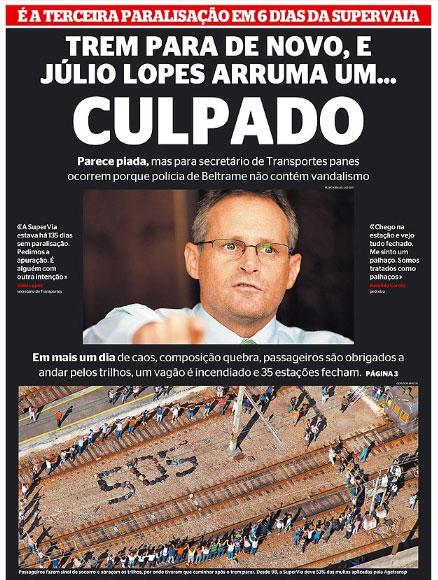 Capa do jornal Extra