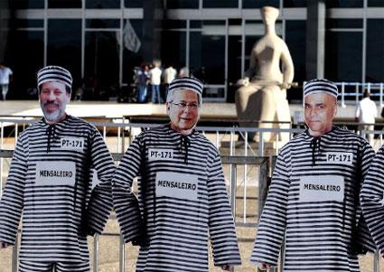Protesto recente contra Turma do Mensalão, em frente ao Supremo