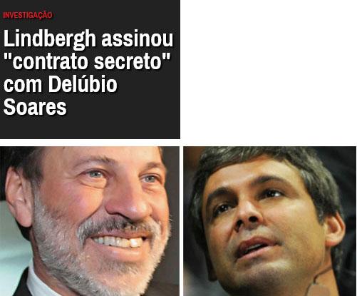 Manchete da revista Época; abaixo, Delúbio Soares e Lindbergh Farias, sócios no caixa 2