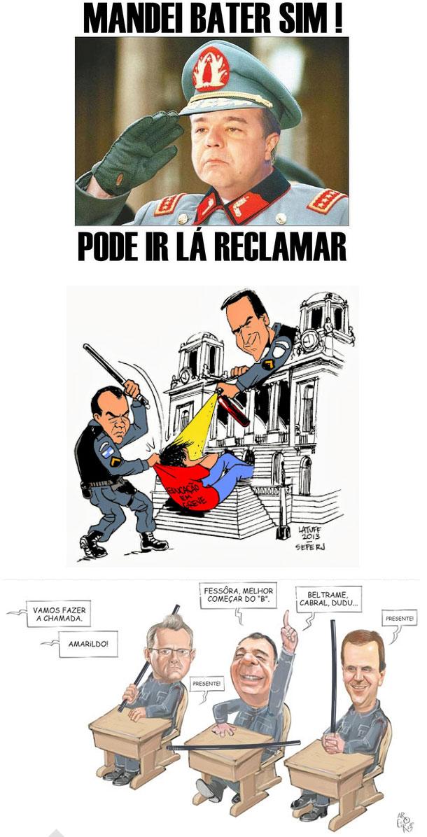 No alto reprodução do Facebook; abaixo charges de Carlos Latuff e Aroeira