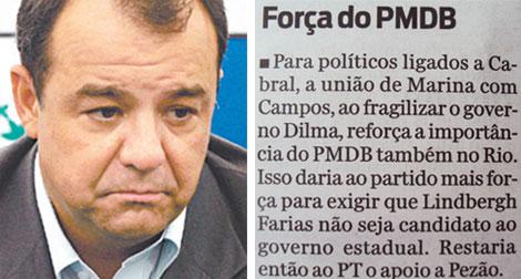 Sérgio Cabral; ao lado nota do Informe do Dia
