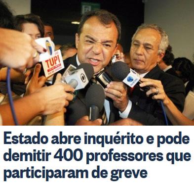 Cabral num daqueles momentos de ódio; abaixo manchete do Globo online