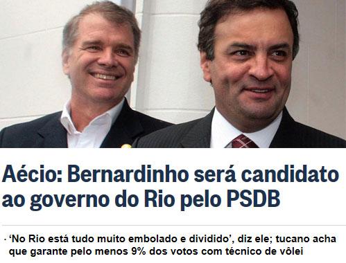 Bernardinho e Aécio; abaixo manchete do Globo online