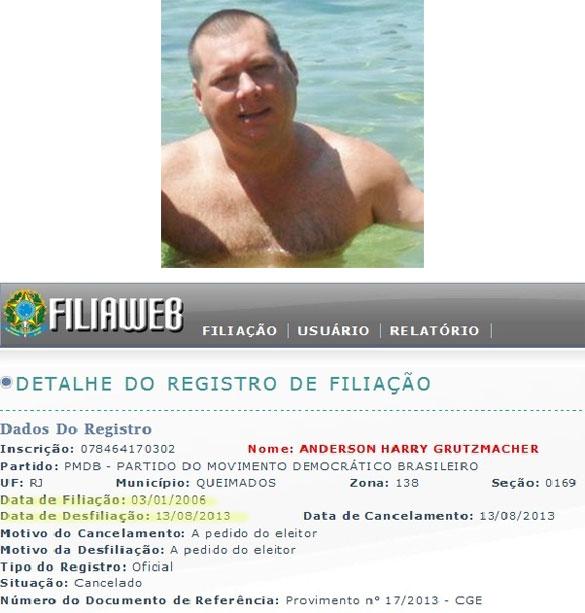 Anderson Harry, o infiltrado; abaixo documento da Justiça Eleitoral que mostra sua filiação ao PMDB (2006) e desfiliação em agosto deste ano