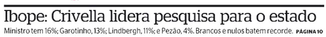 Reprodução da capa do jornal Extra