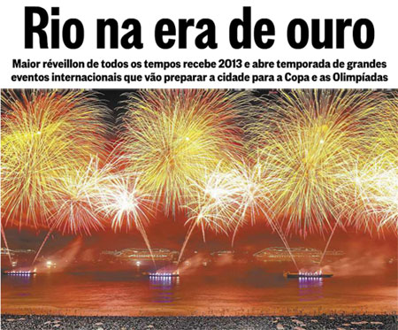 Reprodução da manchete do Globo de 1º de janeiro de 2013