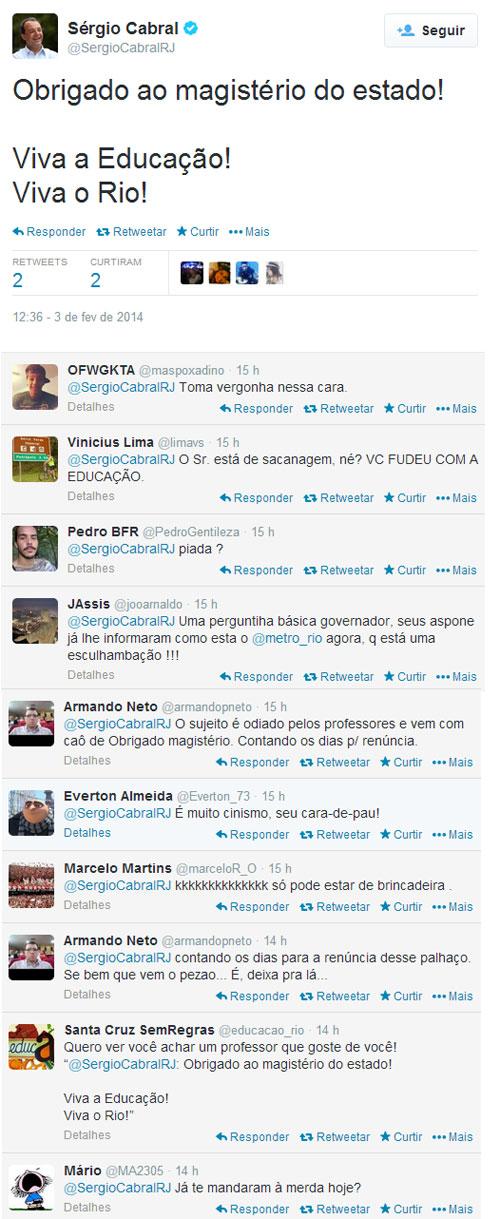 Reprodução do twitter de Sérgio Cabral