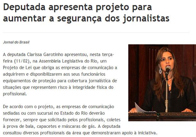Reprodução do JB Digital; ao lado Clarissa Garotinho