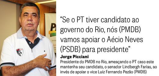 Jorge Picciani; ao lado reprodução do Panorama Político, do Globo