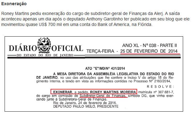 Reprodução do Informe do Dia; abaixo reprodução do Diário Oficial com a exoneração