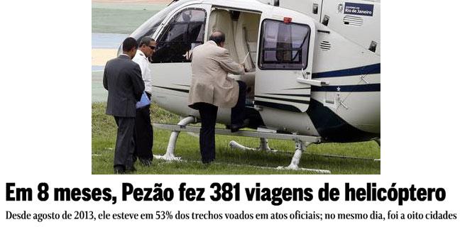 Pezão subindo no helicóptero; abaixo manchete do Globo