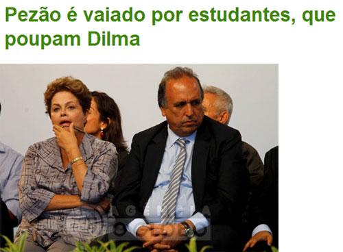 Dilma e Pezão durante cerimônia ontem em São Gonçalo