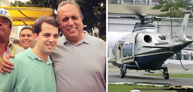 Pezão e o filho de Cabral; ao lado o helicóptero do governador