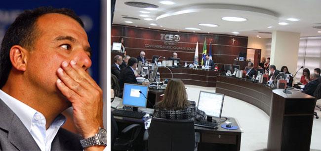 """O """"maquiador"""" Cabral; ao lado a sessão do TCE que analisou as contas do Governo do Estado de 2013"""
