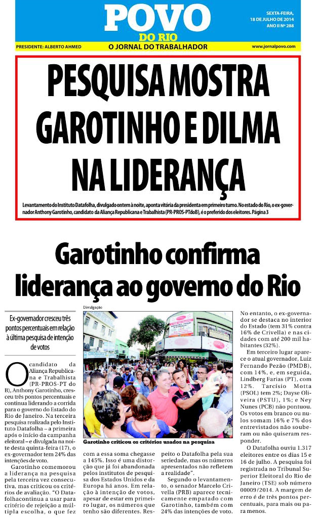 Reprodução do jornal Povo do Rio