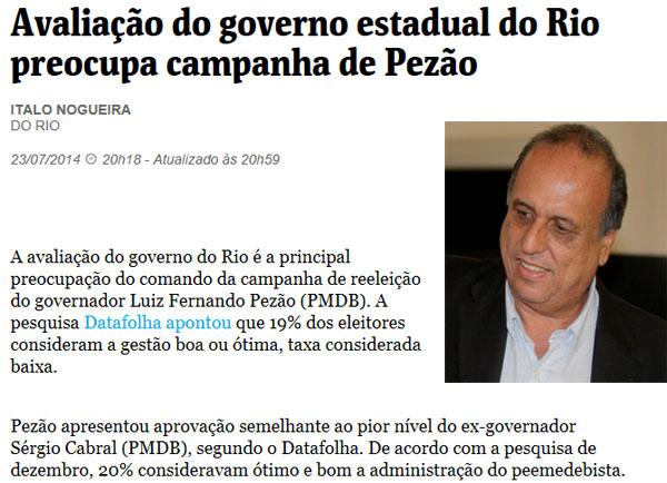 Reprodução da Folha de S. Paulo; ao lado Pezão