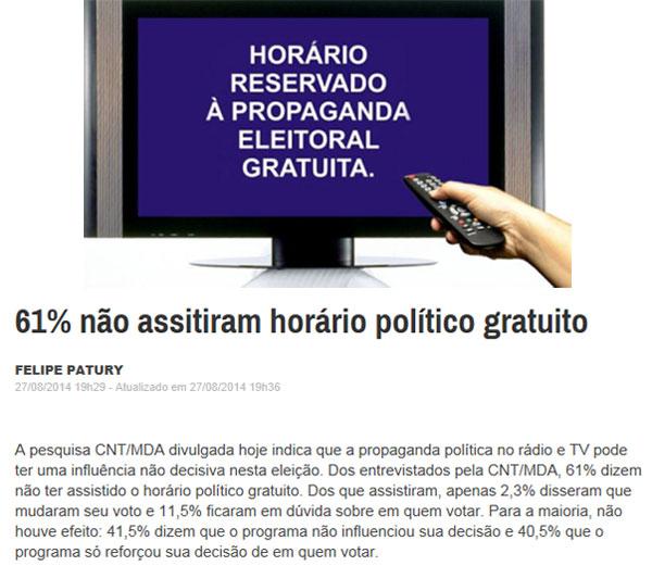 No horário eleitoral maioria muda para canais a cabo; abaixo reprodução da Época online
