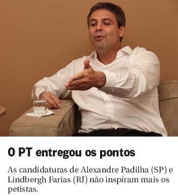 Lindbergh Farias; abaixo reprodução da coluna Panorama Político, do Globo